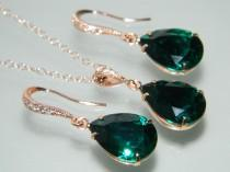wedding photo - Emerald Green Rose Gold Jewelry Set Emerald Earrings&Necklace Bridal Set Swarovski Emerald Wedding Green Pink Gold Jewelry Set Prom Jewelry - $25.00 USD