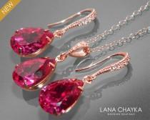 wedding photo - Fuchsia Rose Gold Jewelry Set Hot Pink Earrings&Necklace Bridal Set Swarovski Fuchsia Pink Gold Jewelry Set Prom Pink Jewelry Bridesmaids - $25.50 USD