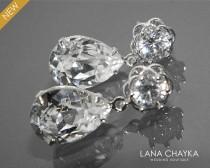 wedding photo - Clear Crystal Bridal Earrings Camellia Crystal Earrings Swarovski Rhinestone Silver Cz Earrings Sparkly Wedding Earrings Bridesmaids Jewelry - $26.90 USD