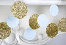 wedding photo - Gold and White Glitter Paper Garland, Bridal Shower, Baby Shower, Party Decorations, Birthday Decoration