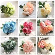 wedding photo - Silk Flower Bouquet Life Like Damascus Rose Posy Silk Peonies For Bridesmaids Bridal Bouquet Maid of honor 8 Heads Each Bouquet 8 colors