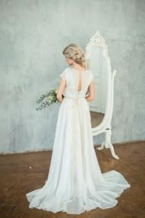 wedding photo - Esa / Beautiful high neck wedding dress with exquisite fine golden decor / Boneless