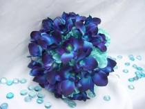 wedding photo - Tiffany's Silk  Bridal Bouquet with Turquoise Hydrangeas, Blue Violet Dendrobium Orchids,Galaxy,Singapore