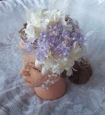 wedding photo - Wedding Fascinator White and Lavender Hairband Hat