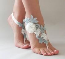 wedding photo - Blue Lace Barefoot Sandals 3D ivory Flowers Sandals Beach wedding Barefoot Sandals,Footless sandles Bridal Lace Shoes, Bridesmaid Sandals - $29.90 USD