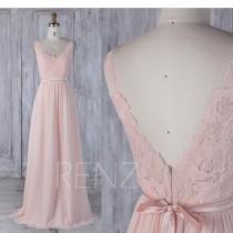 wedding photo - 2017 Peach Chiffon Bridesmaid Dress, Lace Scoop Neck Wedding Dress, V Back Prom Dress with Belt, Prom Dress Floor Length (L295)