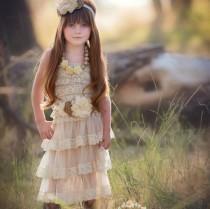 wedding photo - Flower girl dress,  Champagne rustic flower girl dress,country lace flower girl dress, Ivory lace dress, Baptism dress, flower girl dresses.