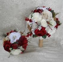 wedding photo - Wedding Bouquet, Red Bridal Bouquet, Rustic Bouquet, Winter Bouquet, Brooch Bouquet,Burgundy Red Bouquet, Christmas Bouquet,Woodland Bouquet