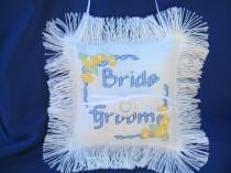 wedding photo - Ring Bearer Pillow, Hand Stitched, Personalized with Bride & Groom's Names and Wedding Date, Color Customized with Bridal Party, Unique Gift