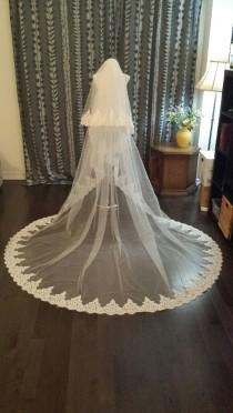 "wedding photo - Full Lace 2-Tier, 108"" Wide, 3M Cathedral Veil, Alencon Lace All Around Edge, w/Blusher, Off-white, Metal Comb, MADE TO ORDER (V13-2T3M)"