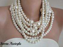 wedding photo - Wedding Pearl Necklace ,Huge Pearl Necklace, pearl necklace multistrand choker Ivory pearl necklace ,pearls , chunky pearls , - $137.00 USD