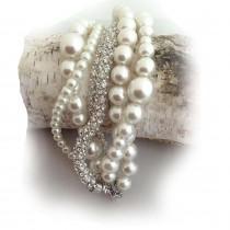 wedding photo - Ivory Layered Glass Pearl Bridal Bracelet, Bridesmaid Gift Bracelet, Pearl and Rhinestone Wedding bracelet - $79.00 USD