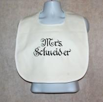 wedding photo - White Bib, Protect Wedding Dress, Bride Groom Cake Crumb Catcher, Custom Personalize With Name,  No Shipping Fee,  Ships TODAY, AGFT 557