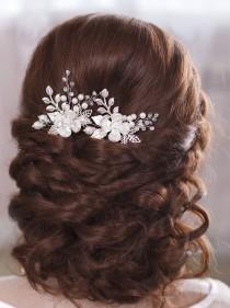 wedding photo - Bridal hair pins Wedding hair pins Flower hair pins Bridal hairpin Pearl hair pins Wedding bobby pins Leaf hair pins Silver hair pins