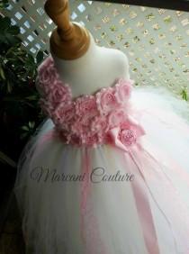wedding photo - Pearl Blush Pink  Ivory White Flower Girl Dress, Flower Girl Dress,Tutu Flower Girl Dress,Vintage Dress,Vintage Flower Girl Dress,Tutu Dress