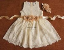 wedding photo - Ivory Lace Girls Dress, Flower Girl Dress, Lace Girl Dress, Rustic Lace Dress, Ivory Lace Flower Girl Dress, Junior Bridesmaid dress