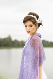 wedding photo - Lavender Scarf Linen Shawl Bridesmaids Stole Sheer Wedding Shawl Boho Scarf Gauze Wrap Knitted Lace Scarf