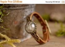 wedding photo - 20% OFF Dandelion bracelet, dandelion seed bracelet, brown leather bracelet, adjustable bracelet, antique brass bracelet, genuine leather br