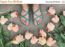 wedding photo - SALE 15% OFF: Sandals, Leather Sandals, Summer Sandals, Leather Flats, Strappy Sandals, Summer Shoes, Women's shoes, Women Sandals, Turquois
