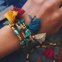 wedding photo - TTB-01, handmade turquoise and gold beads tassle bracelet