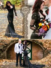 wedding photo - Black Wedding Dress from Silk Crepe with Sheer Open Back, Buttons and Long Sleeves in Floor Length with Transparent Slits and Train