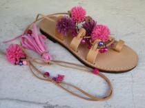 wedding photo - Tie Up Gladiator Sandals, Greek Leather Sandals, Boho sandals, Pom Pom sandals Sandales plates  LES TROPÉZIENNES
