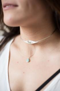 wedding photo - Neck Cuff, choker, sterling silver, turquoise // HELIOS NECK CUFF