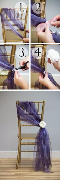 wedding photo - Tutorial: 6 Chair Sashes Created With Organza Rolls