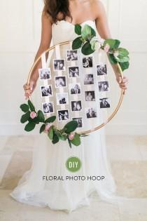 wedding photo - DIY Floral Photo Hoop