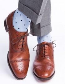 wedding photo - Sky Blue With Navy Dot Cotton Sock Linked Toe Mid-Calf