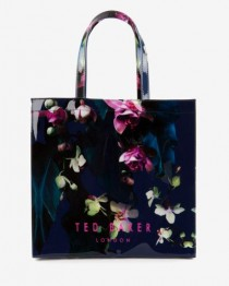 wedding photo - Large Fuchsia Floral Shopper Bag - Dark Blue