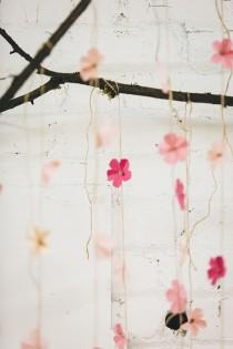 wedding photo - DIY Paper Cherry Blossom Backdrop