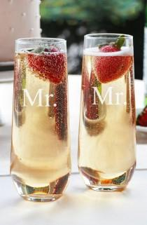 wedding photo - Cathy's Concepts 'For The Couple' Stemless Champagne Flutes (Set Of 2)