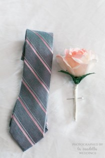 wedding photo - PINK BLUSH BOUTONNIERE. Wedding Single Rose & Ribbon Boutonniere With Foliage. Includes Pearl Or Rhinestone Pin. Premium Soft Silk Rose