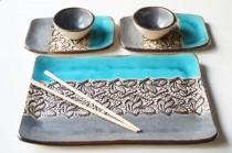 wedding photo - Sushi Serving Set, Set For 2, Rustic Sushi Plates, Ceramic Sushi Plate, Sushi Tray, Serving Sushi Set, Housewares, Ceramics And Pottery