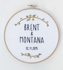 wedding photo - Custom Wedding Name & Date Embroidered Hoop Art