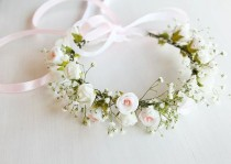 wedding photo - Baby's Breath & Rose Crown, Flower Girl Crown, Toddler Crown, Girls Floral Crown, Baby's Breath Wreath, Woodland Headband Baby's Breath Halo