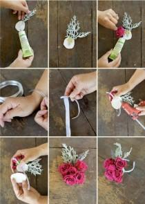 wedding photo - How To Make A Floral Bracelet / Wrist Corsage