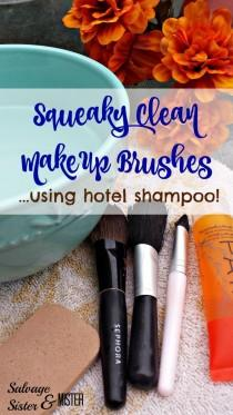 wedding photo - Squeaky Clean Makeup Brushes Using Hotel Shampoo