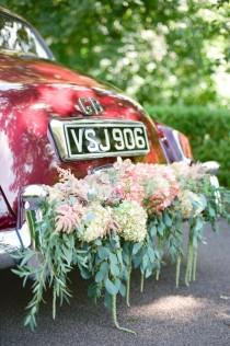 wedding photo - Vintage Car With Floral Garland By Bo Boutique Flowers