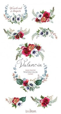 wedding photo - Wedding Watercolor Wreath & Bouquets, Helleborus Flowers, Anemone, Eucalyptus, Hand Painted Clipart, Floral Invitations, Greeting Card