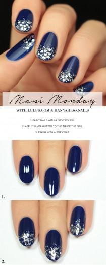 wedding photo - Mani Monday: Navy Blue And Silver Glitter Nail Tutorial