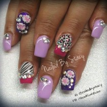 wedding photo - Animal Print, Purple And Pink - Nail Art Gallery