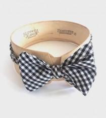 wedding photo - Black Gingham Bow Tie