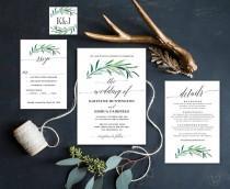 wedding photo - Printable Eucalyptus Greenery Wedding  Invitation, Greenery Wedding Invitations, Editable Text, Instant Download, Eucalyptus Greenery