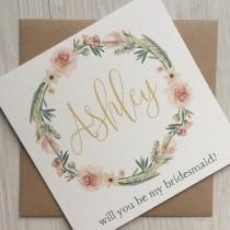 wedding photo - Will you be my bridesmaid card - Bridesmaid card - Personalised bridesmaid card
