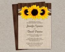 wedding photo - DIY Printable Rustic Sunflower Wedding Shower Invitation, Sunflower Couples Shower Invites, Rustic Wedding Shower Invitation Cards
