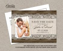 wedding photo - DIY Printable Rustic Save The Date Postcards, Photo Wedding Save The Dates With Burlap And Lace