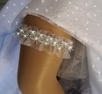 wedding photo - Wedding Garter /  Rhinestone Garter / Crystal Garter / Garter Belt / Wedding Garter Set