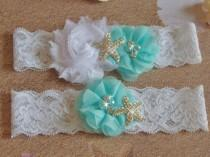 wedding photo - Light Aqua Beach Wedding Garter, Starfish Bridal Garter, White or Ivory Lace Single Keepsake or Garter Set, Destination Wedding Bridal